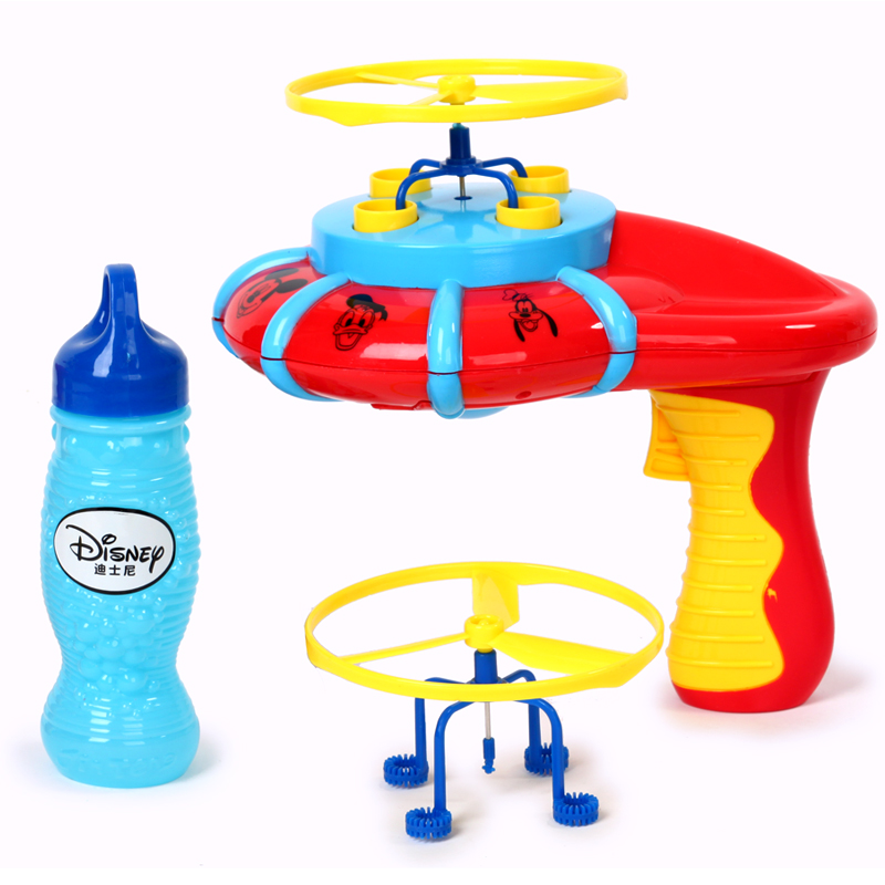 Disney children's electric gun outdoor beach boys and girls 2-3-5-year-old nonvenomous ufo flying saucer toy bubble machine