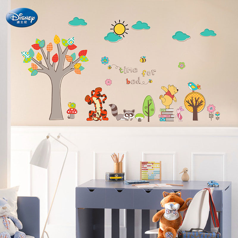 Disney children's room wall stickers kindergarten early education of the amusement park cartoon cute dimensional nepalese bear wood wall stickers
