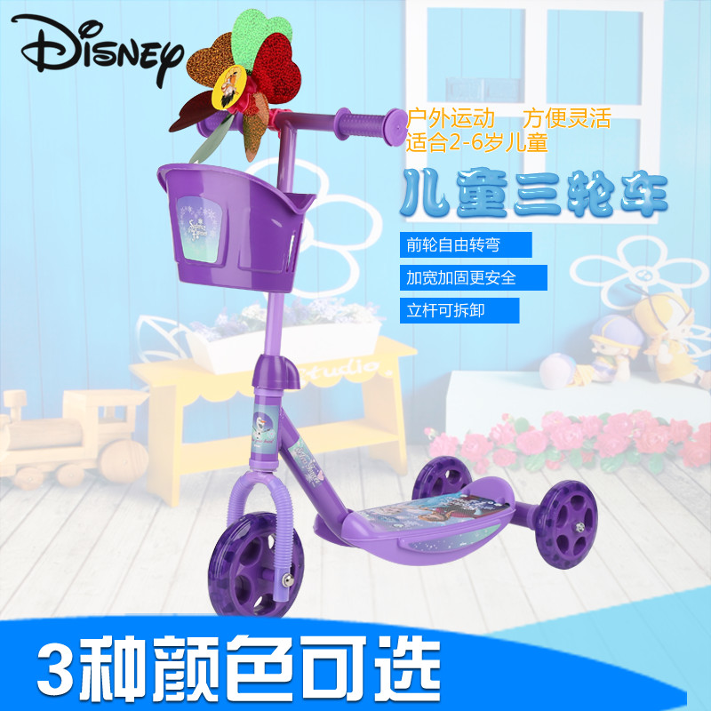 Disney children's scooters 6  3-wheel scooter 3 years old 3 years old 6 kids skateboarding car treasure treasure swing car Scooter