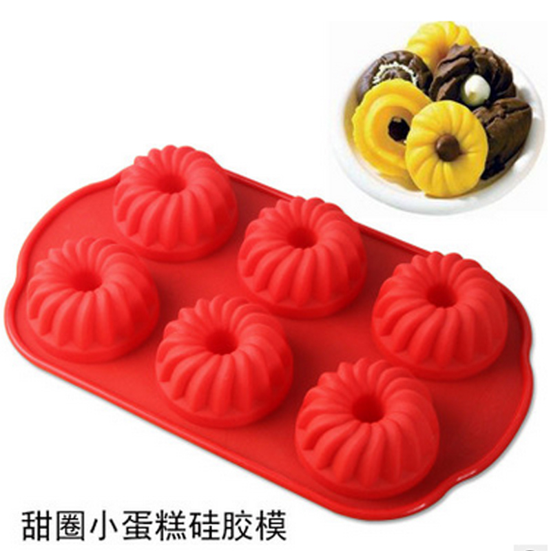 Diy baking mold silicone baking mold hollow donut donut mold 6 even mold cake mold with oven