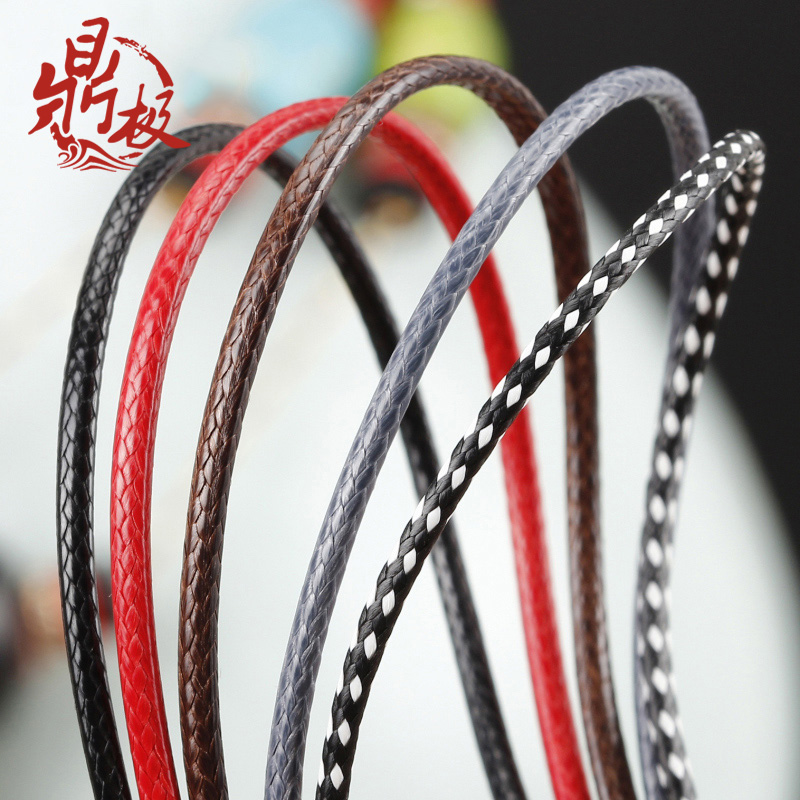Diy leather cord necklace pendant rope lanyard gold emerald jade pendant rope rope pendant male and female red and black ornaments