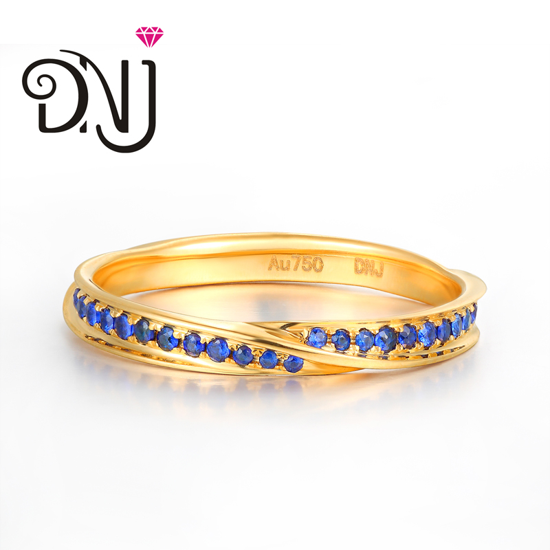 Dnj natural sapphire ring k gold ring inlaid group row twisted piece ring female ring ring ring princess