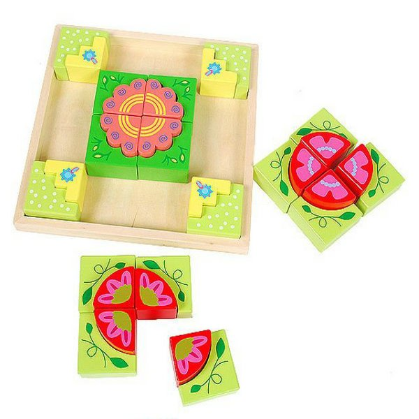 Dole wooden jigsaw puzzle dimensional jigsaw puzzle wooden card jigsaw puzzle toy building blocks children's color diversity