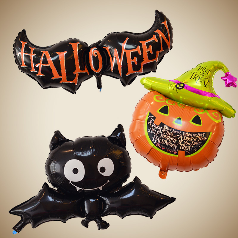 Domestic aluminum foil handheld wand halloween fool's day arrangement black bat pumpkin spider horror party decoration aluminum balloons