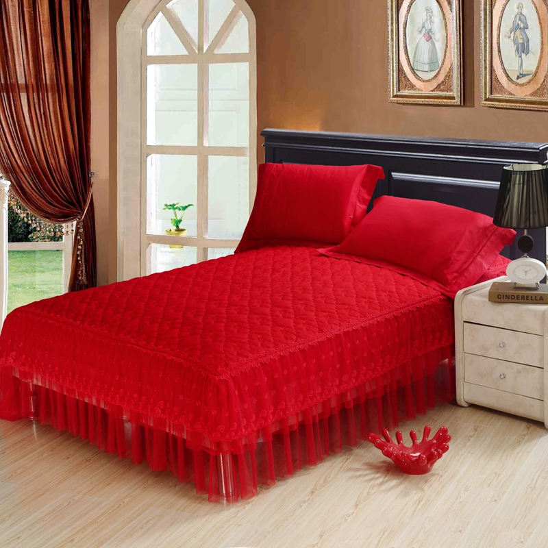 Dong xuan textile chinese style quilted thicker section red wedding cotton lace bed skirt style bedspread bed enterprises bed skirt