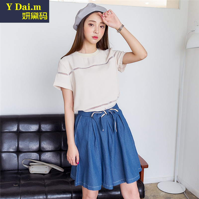 Dongguk door 2016 summer new women korean solid round neck short sleeve t-shirt blouse female hollow