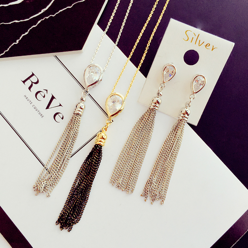Dongguk door delicate tassel zircon series earrings earrings with jewelry necklace female japanese and korean version of sweet temperament beauty