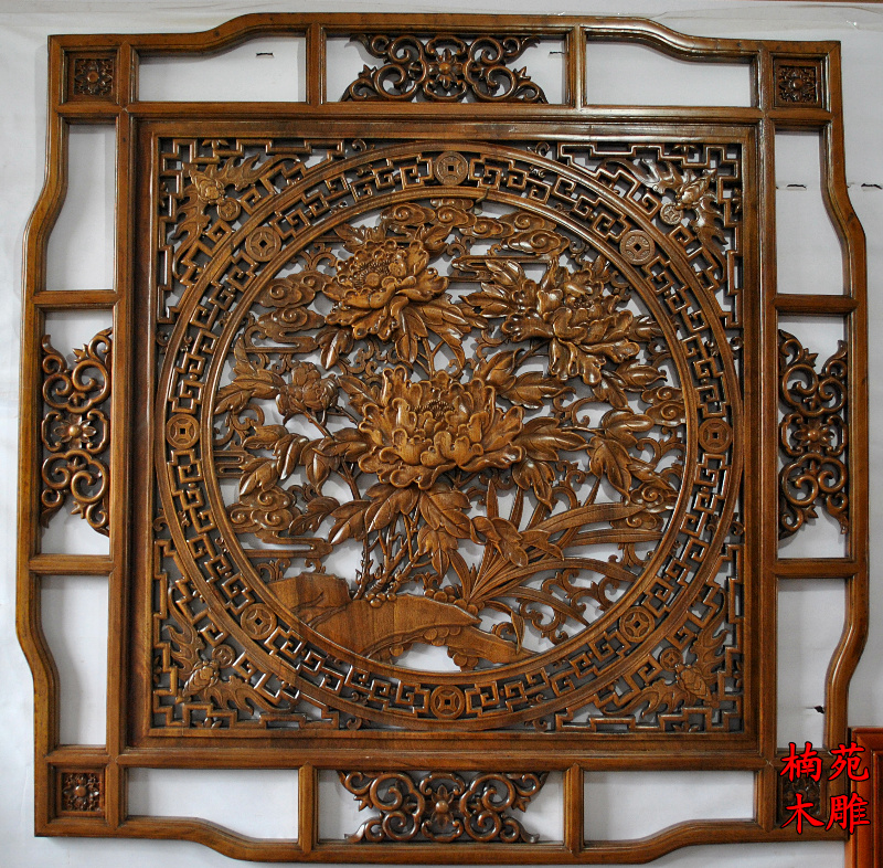 Dongyang wood carving antique wood carving pendant chinese background wall hanging panel square pendant camphor wood peony blossoming