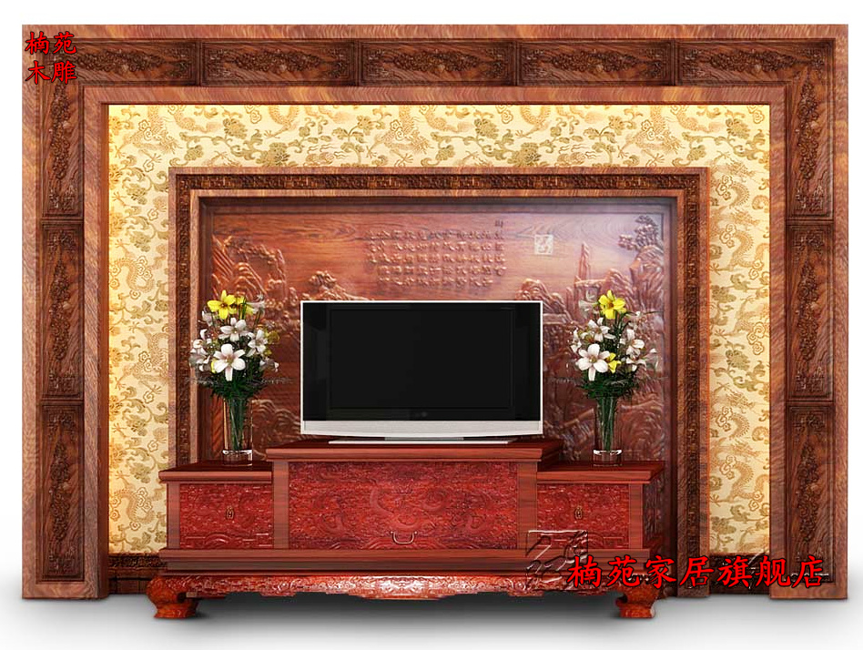 Dongyang wood carving camphor wood pendant custom chinese tv background wall decoration antique wood carved hollow carved panels
