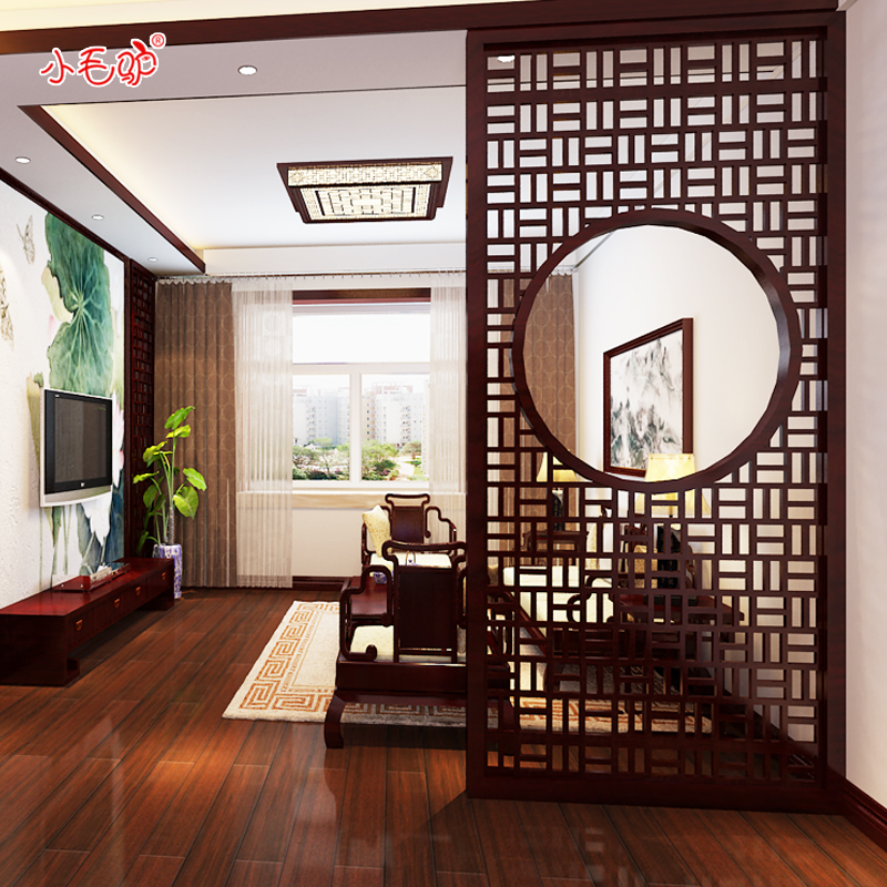 Dongyang wood carving chinese decoration tv background wall separated off screen carved hollow wood grillwork ceiling custom
