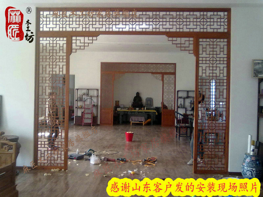 Dongyang wood carving custom living room entrance foyer off plaid plaid wood screen doors chinese