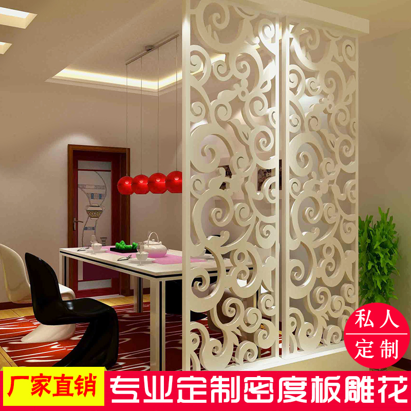 Dongyang wood carving mdf carved hollow carved panels through the flower board plaid backdrop screen porch off