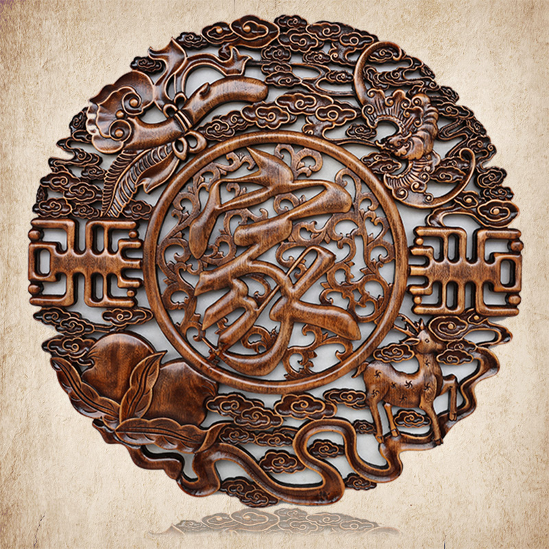 Dongyang wood carving pendulum pendant big splash fish round the word blessing chinese decorative wall hanging pieces of decorative arts and crafts archaized