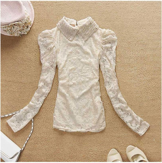Door heroic 2012 spring new korean women lapel long sleeve beaded lace bottoming shirt lace shirt