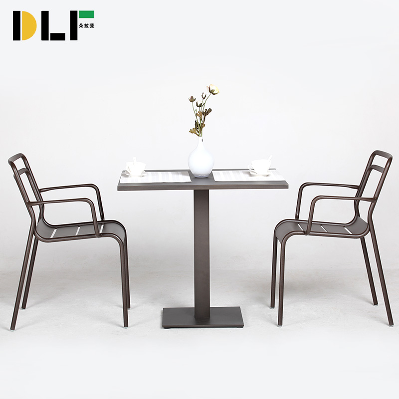 Dora fei euclidian commercial furniture outdoor furniture balcony patio table and two chairs aluminum balcony three sets