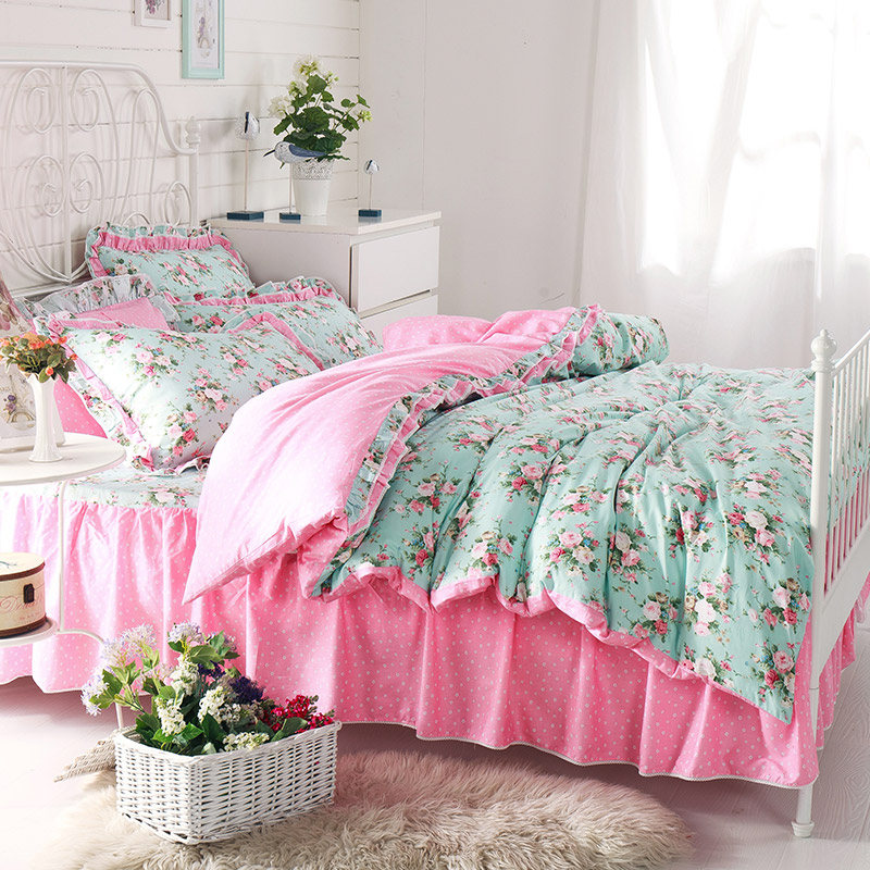 Dorota/duo luota korean textile cotton bed skirt a family of four double pure cotton bedding 1.5 m bed