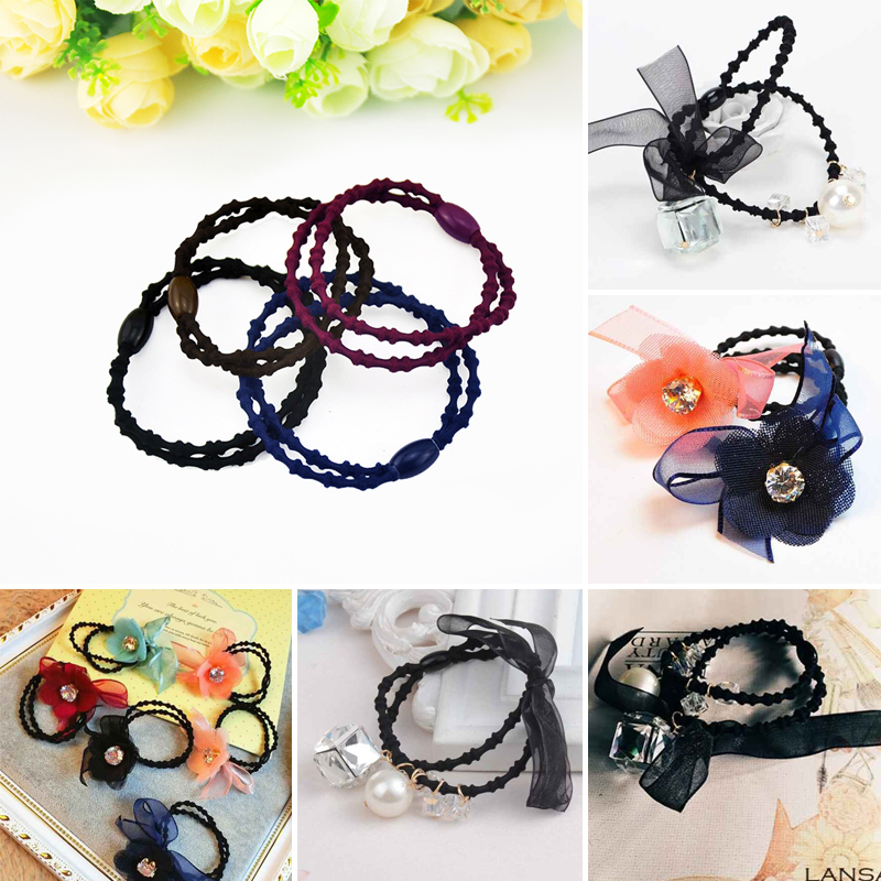 Double bamboo hair rubber band ring leather cord material diy handmade hair accessories hairpin material diy handmade hair accessories tousheng