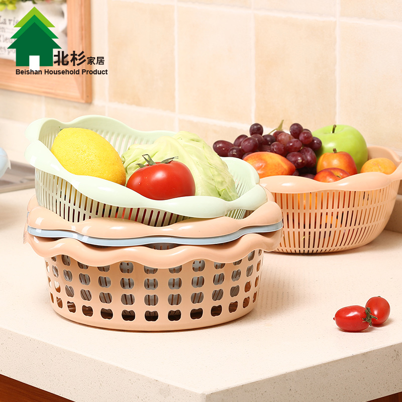 Double celebration kitchen drain basket of fruit and vegetable basket of vegetables basket basket fruit basket basket blue dish sieve sieve sieve drain fruit and vegetable basket amoy