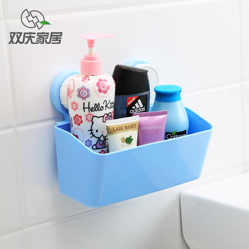 Double celebration powerful suction cup suction wall bathroom shelf storage rack bathroom shelf wall hanging bathroom toiletries shelf