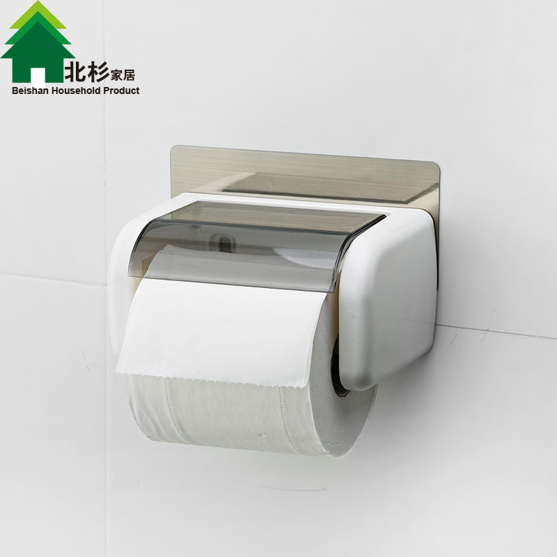 Double celebration powerful suction toilet paper holder toilet tissue box creative waterproof bathroom toilet roll holder roll carton box free punch