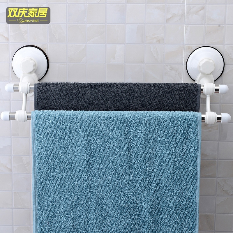 Double celebration sucker towel rack stainless steel double rod bathroom towel rack bathroom wall suction seamless rod free punch