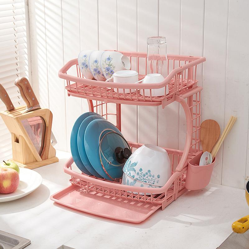 Double kitchen shelf plastic chopsticks cutlery rack storage rack drain rack dish rack dish rack cupboard finishing frame