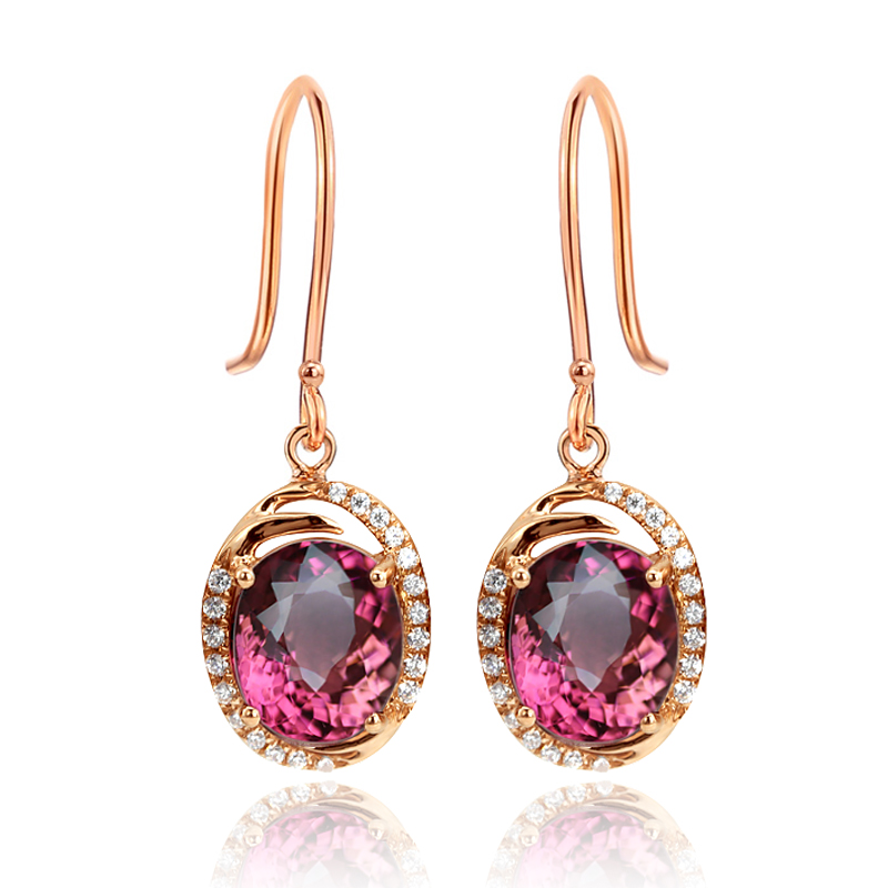 Doyle blue multicolored k rose gold ear wire ear hook earrings female models natural red tourmaline send ciq certificate