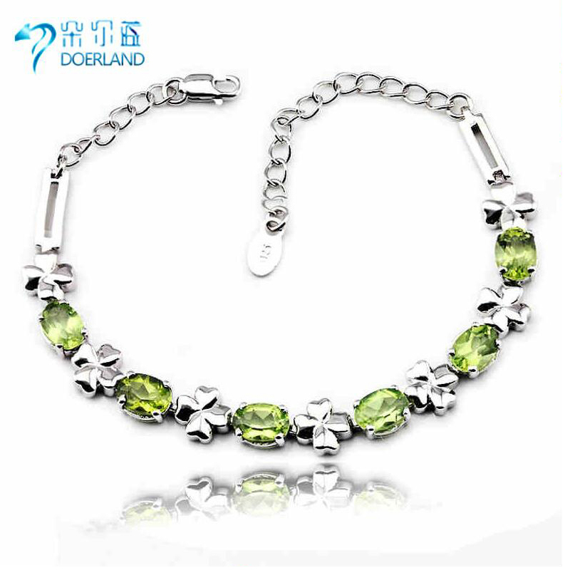 Doyle blue multicolored natural peridot bracelet 925 silver gemstone crystal bracelet korean version of the fresh clover
