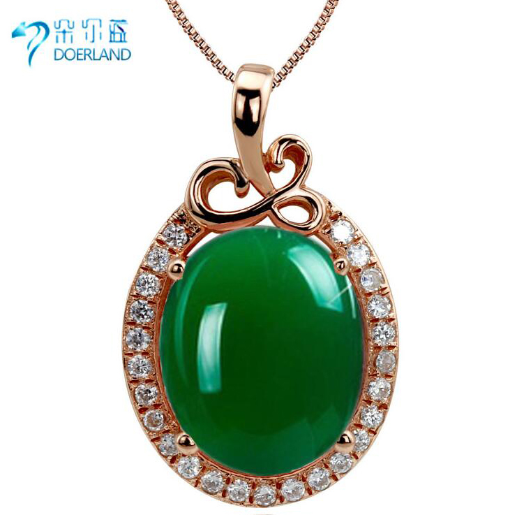Doyle blue new 925 silver gemstone pendant female natural green chalcedony agate pendant necklace rose gold plated