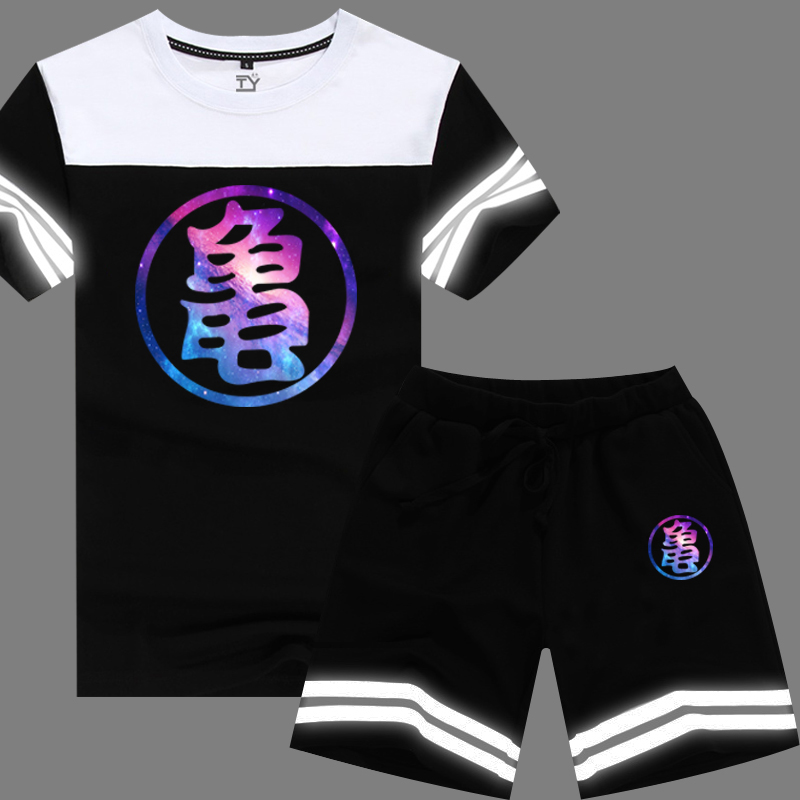 Dragon ball monkey magic turtle fairy god star t-shirt printed word reflective clothes men short sleeve pants suit