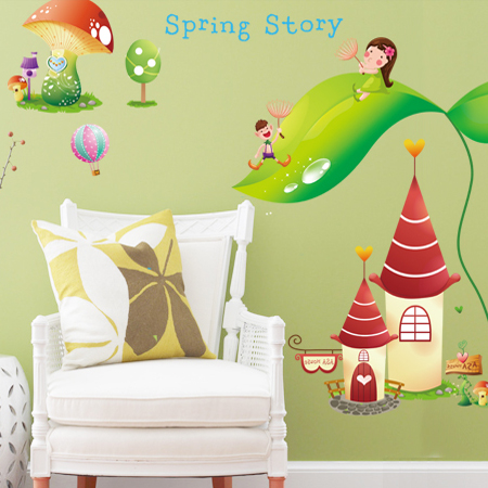 Dream castle wall stickers cartoon backdrop bedroom children's room nursery wall stickers decorative wall stickers can be removed