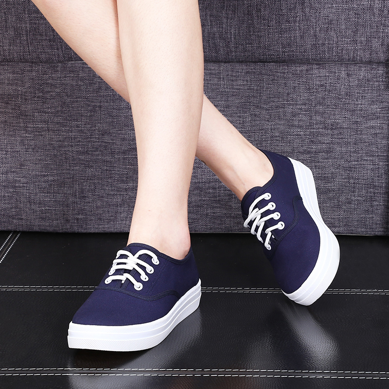 Dream cat korean version of casual white canvas shoes women shoes autumn fashion student sports shoes thick bottom lace shoes white shoes