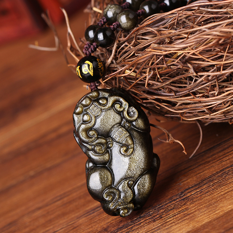 Dream curtain opening brave natural obsidian pendant pendant male and female couple gold obsidian crystal jewelry