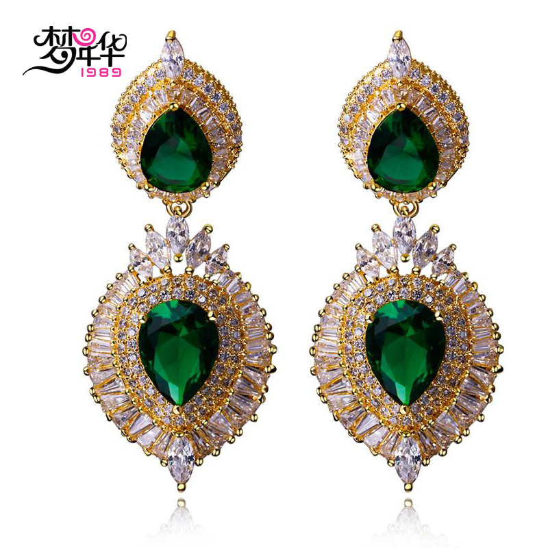 Dream love jewelry trend of new european and american retro palace droplets inlaid artificial zircon gold plated earrings