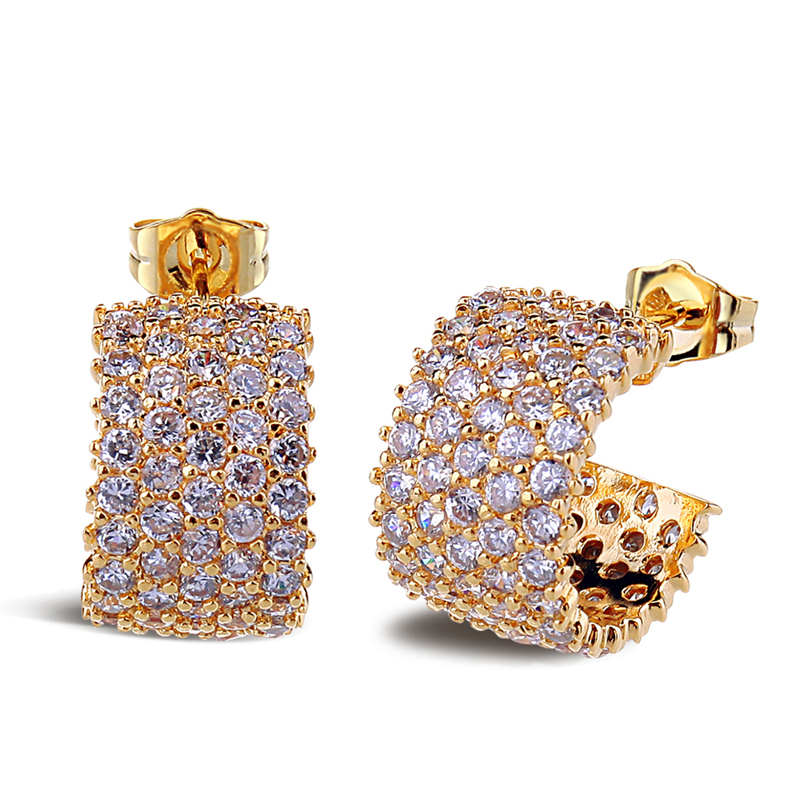 Dream love new inlaid artificial zircon gold plated earrings earrings female valentine's day gift