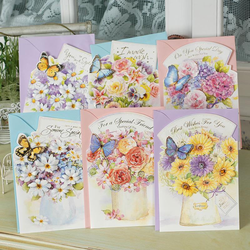 Dreamday WISH-1401 tens of thousands of watercolor dimensional glitter applique gilt greeting card greeting cards with card