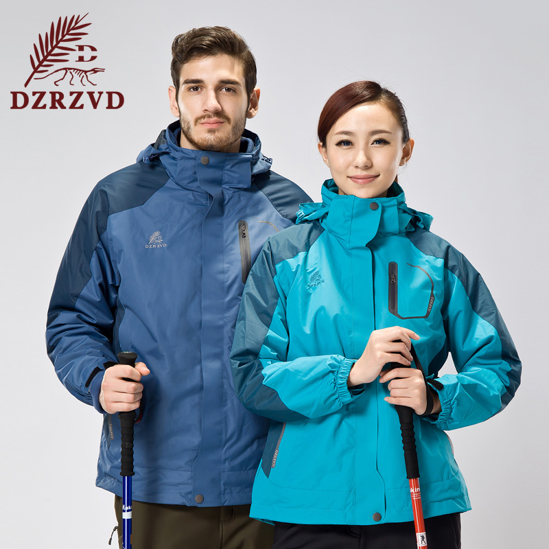 Du hom to 2014 new couple outdoor piece triple jackets warm breathable waterproof male and female models