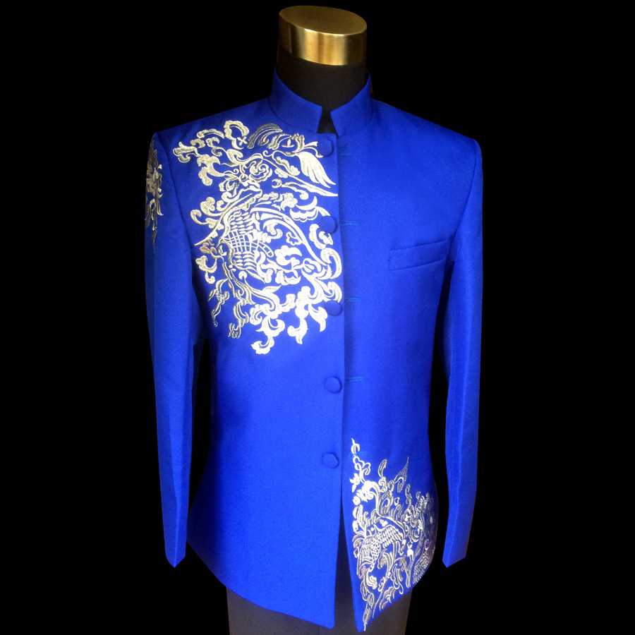Due to the truth of the new men's zhongshan fu chinese dress embroidered collar clouds play out of the blue suit 8003