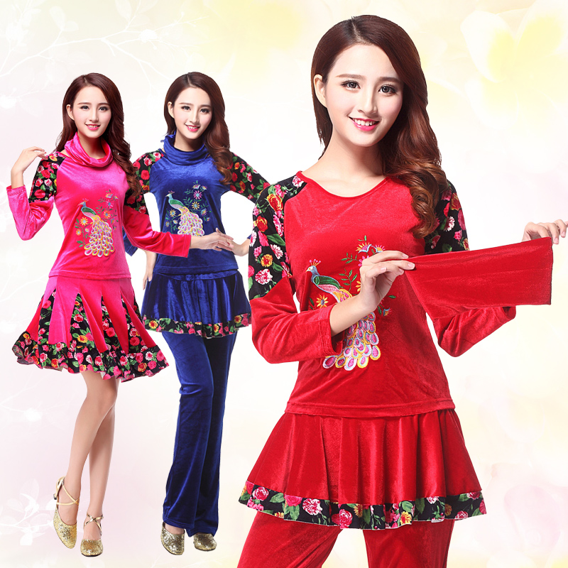 Duo lafen square dance clothing new suit autumn gold velvet embroidered piece dance clothes dance clothes adult