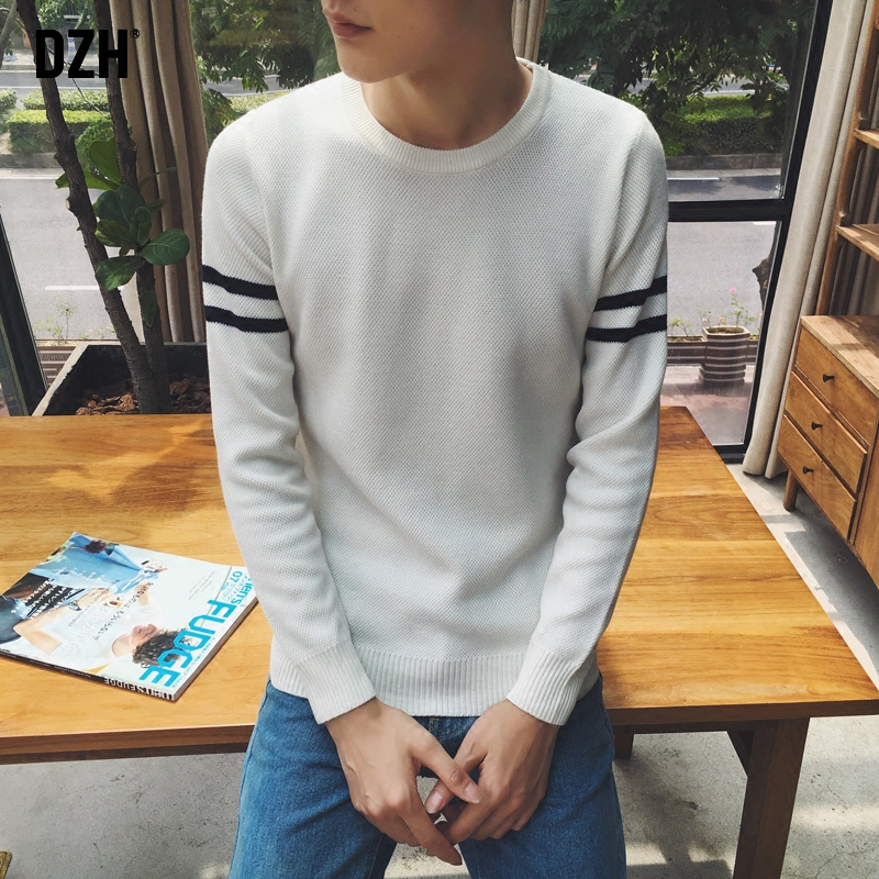 DZH2016 autumn sweater male korean students slim round neck sweater male korean fashion sweater coat tide male