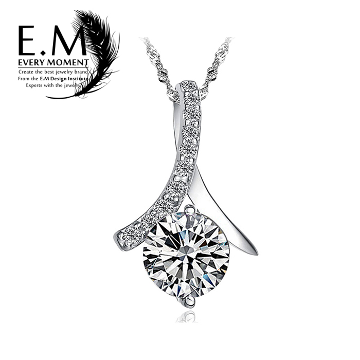 E. m silver necklace female south korean version of the simple 925 silver pendant jewelry decorative accessories clavicle birthday gift