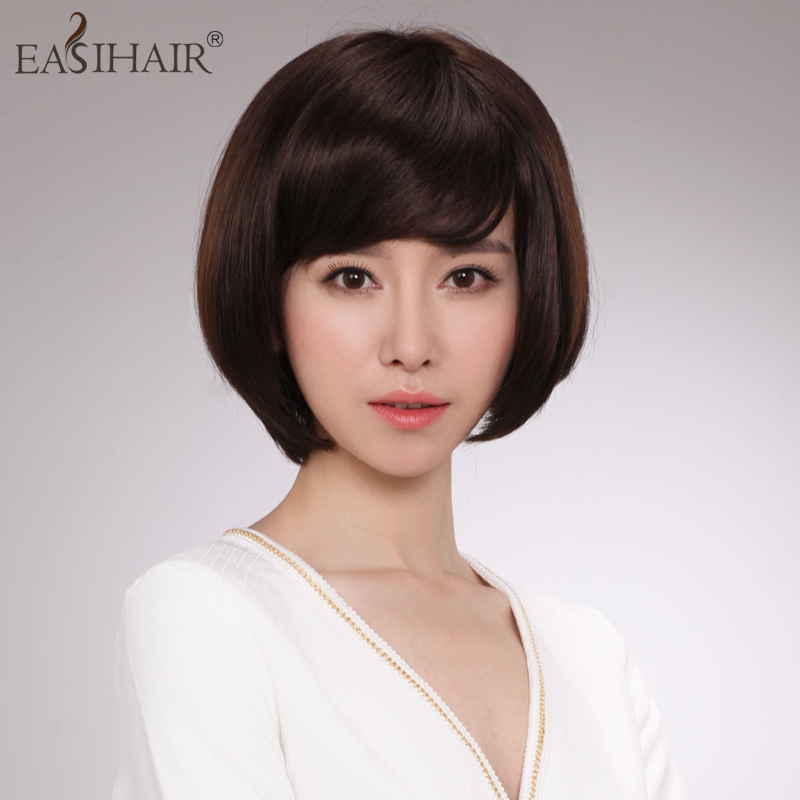 Easihair hand woven wigs real hair wig short hair bobo head fashion female wig bobo head wig