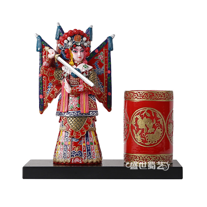 Eastern workers italian pen peking opera fan lihua opera opera characters drawn desktop ornaments handmade gifts