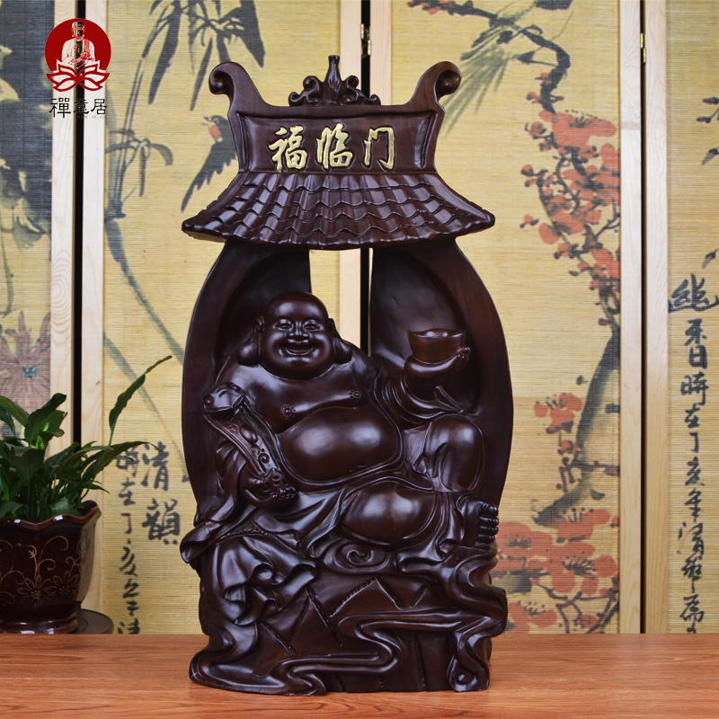 Ebony wood carving of buddha maitreya buddha mahogany wood crafts boutique decoration living room den office decoration