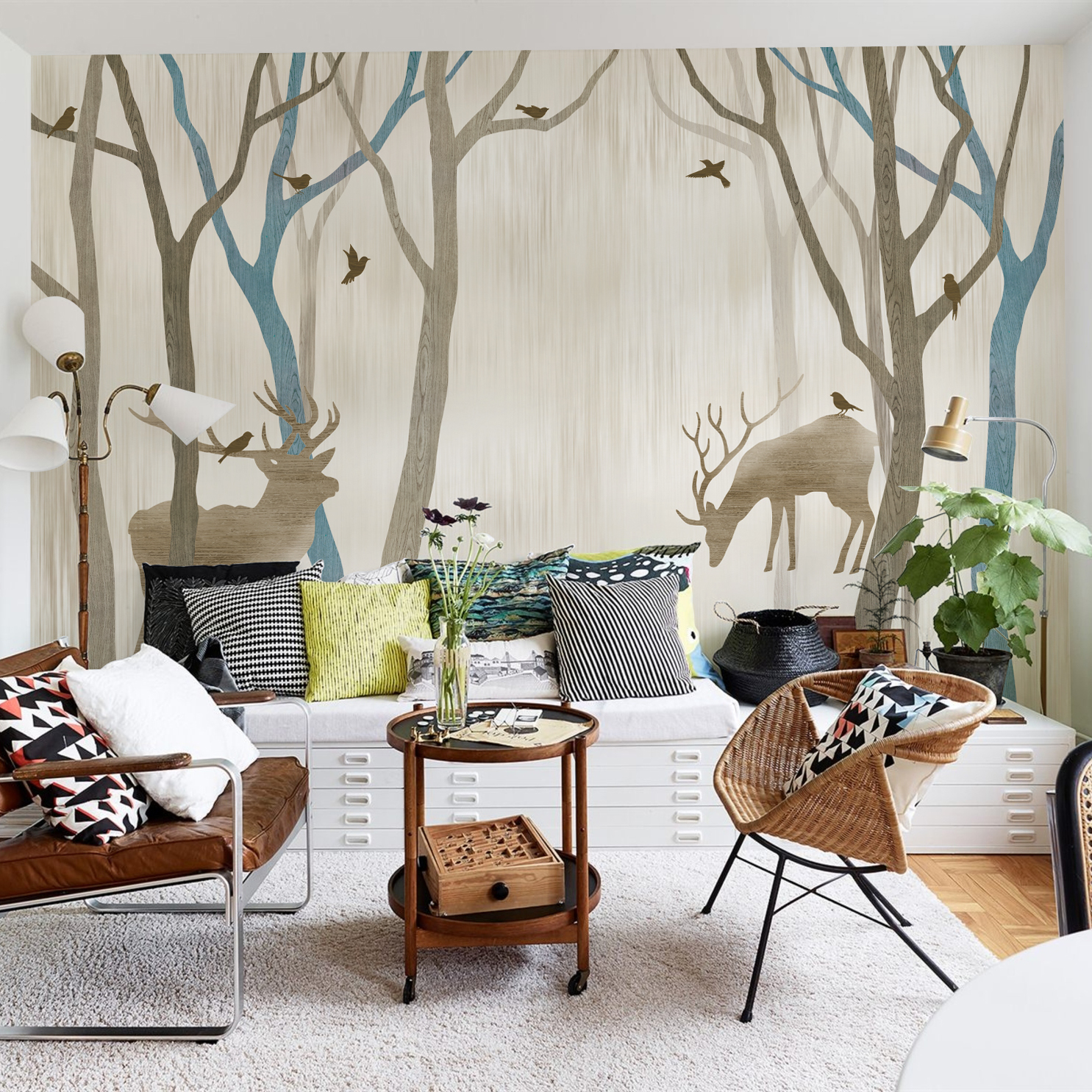 Get Quotations Edgar Mito Large Mural Nordic Style Bedroom Room Wallpaper Tv Background Painting Forest