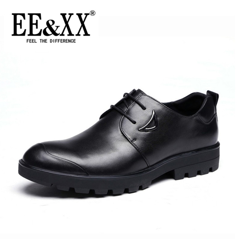 Eexx fall new business casual shoes first layer of leather lace round 2016 wild breathable shoes dad 4365