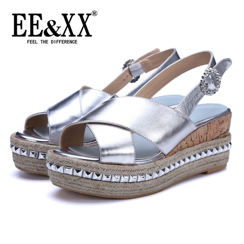 EEXX2016 european and american style fashion simple and comfortable summer sandals muffin bottom shoes pure color shoes fish head tide 9568