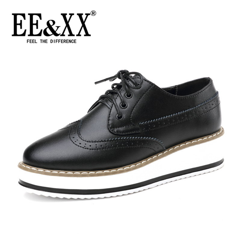 EEXX2016 spring new deep mouth round flat with stylish and comfortable shoes to help low solid color sets foot platform shoes 6317