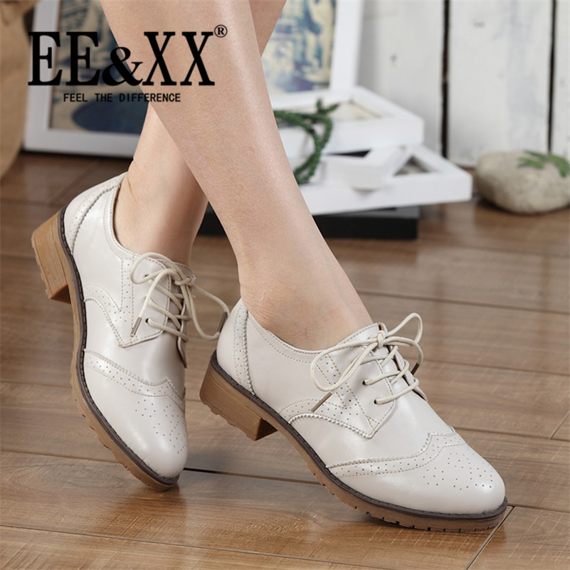 EEXX2016 spring new deep mouth round flat with stylish and comfortable shoes to help low solid lace adhesive shoes 4929