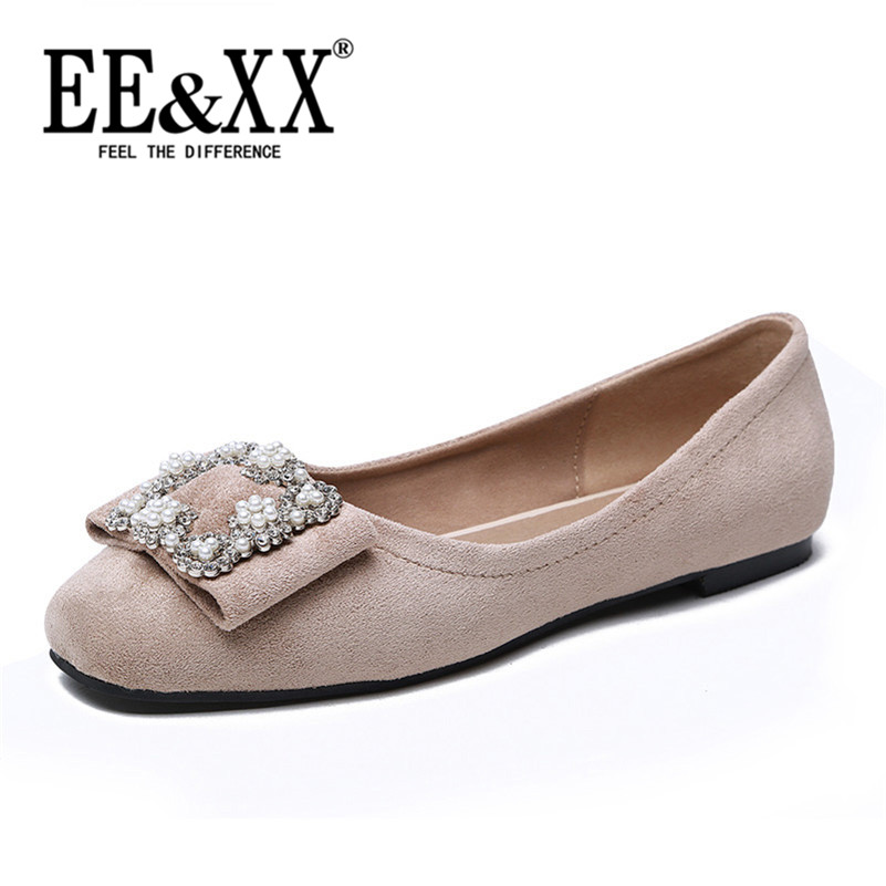 EEXX2016 spring sweet suede rhinestone square head shallow mouth low shoes comfortable flat shoes work shoes 1865